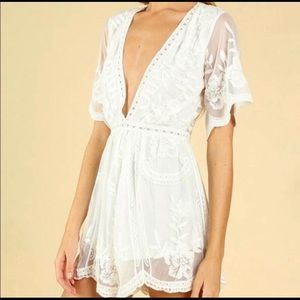 Honey Punch White Lace Romper, size S